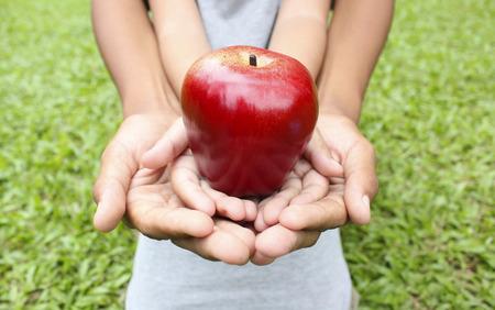 Volwassen handen holding kid handen met rode appel op de top