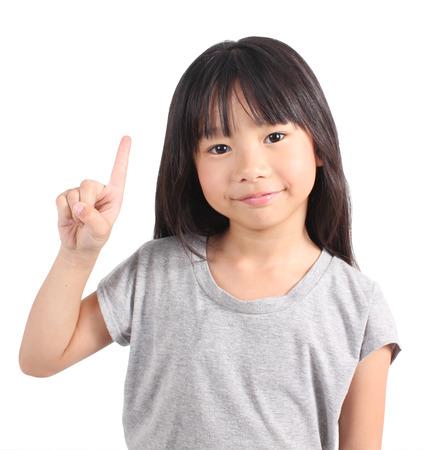 Little girl with her two finger Banco de Imagens