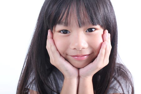 female face: Portrait of young cute girl Stock Photo