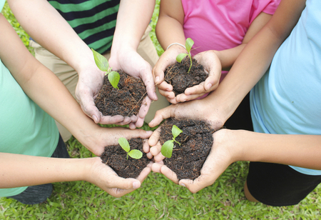 earth handful: Hands holding plants with soil Stock Photo