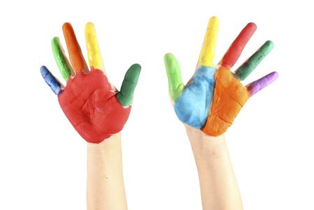 painted: Painted hands, colorful fun. Creative,