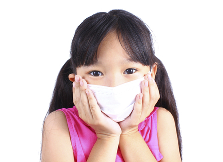 Girl have a fever and wear protection mask