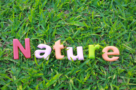 Colorful word of NATURE on green grass background.