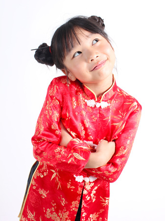 singaporean: Cute girl wearing red Chinese suit