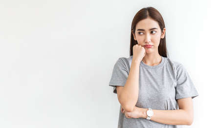 portrait of angry pensive mad crazy stress asian girl expression, facial), beauty portrait of young asian woman burnout isolated on white background. Woman lifestyle concept