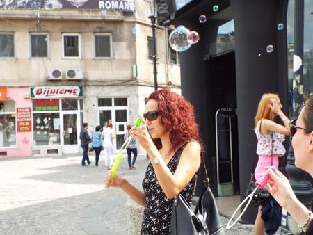 Roma: Bubble Parade in Roma Sqare in Bucharest, Romania