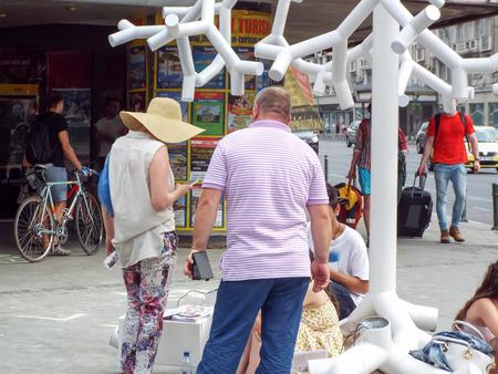 arthur: Street Delivery 2015 on Arthur Verona Street in Bucharest, Romania.