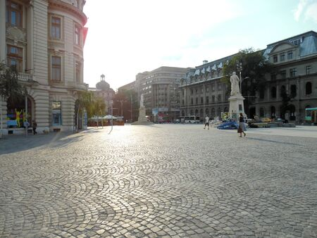 bucuresti: University Square in Bucharest, Romania in a sunny summer day.