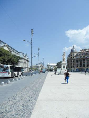 bucuresti: University Square in Bucharest, Romania in a sunny summer day.
