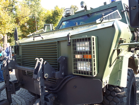 power rangers: Exhibition of Romanian Army Day military equipment.
