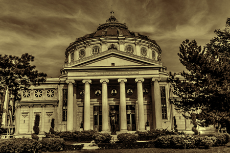 Image with Romanian Athenaeum in Bucharest, Romania.