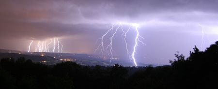 16 bolts of lightning panorama Stock Photo - 3917043