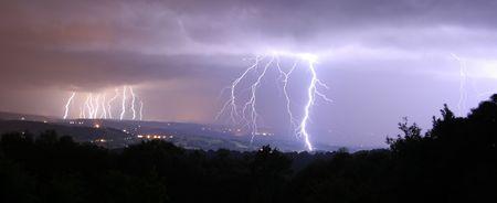 16 bolts of lightning panorama photo