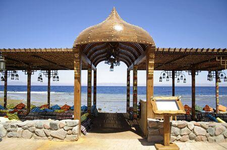 dahab: resort restaurant on the red sea in dahab, sinai, egypt
