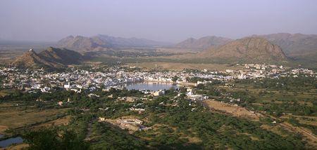 plains indian: panoramic view of pushkar city, rajasthan, india Stock Photo