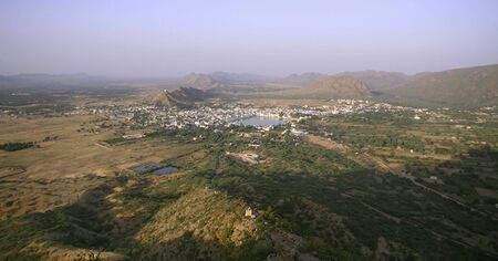 plains indian: panoramic view of pushkar city, rajasthan, india Stock Photo