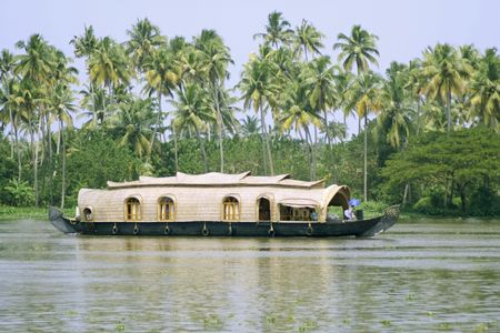 backwaters: houseboat cruise through the backwaters, kerala, india Stock Photo
