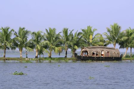 backwaters: houseboat cruise through the backwaters, kerala, india Stock Photo