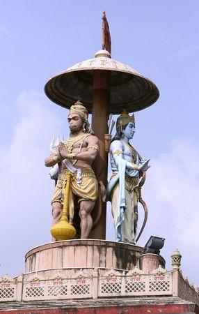 vedas: statue of lord Ram and hanuman, rishikesh, india