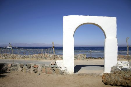 guesthouse: door archway into bedouin style guesthouse in dahab, red sea, sinai, egypt Stock Photo