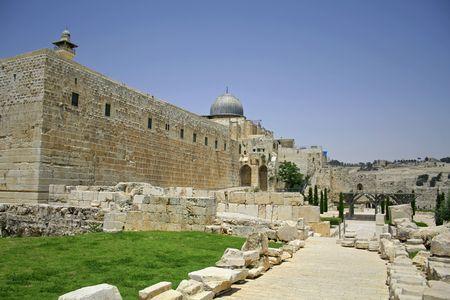 Lamentations et le sud du mur ouest de Jérusalem, en Israël Banque d'images - 3925917