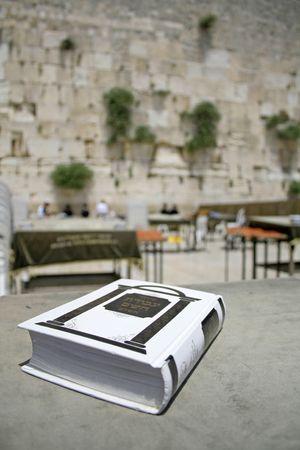 Jewish bible on table, wailing western wall, jerusalem, israel Stock Photo - 3925788
