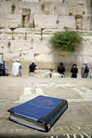israelite: Jewish bible on table, wailing western wall, jerusalem, israel