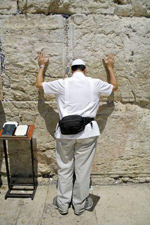 lamentation: Ebreo americano pellegrino a Wailing parete occidentale, Gerusalemme, Israele