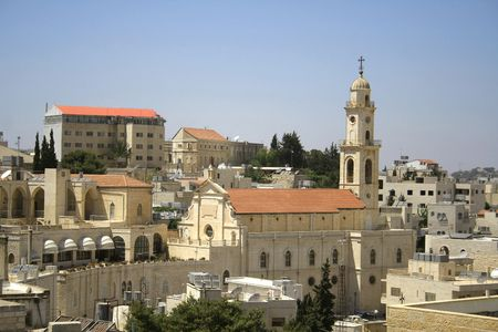 crucifiction: church tower bethlehem, west bank, palestine, israel
