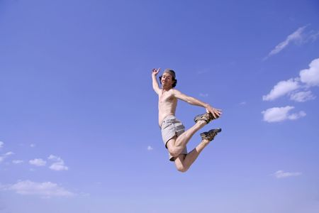 healthy happy man jumping in joy of life Stock Photo - 3927942