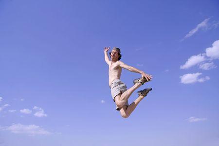healthy happy man jumping in joy of life Stock Photo - 3927942