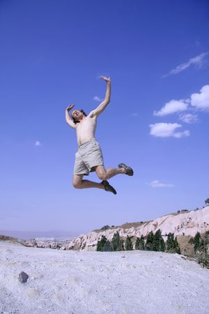 healthy happy man jumping in joy of life Stock Photo - 3927977