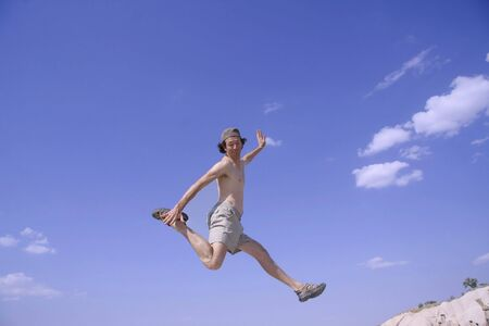 healthy happy man jumping in joy of life Stock Photo - 3927943
