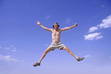 healthy happy man jumping in joy of life Stock Photo - 3927944
