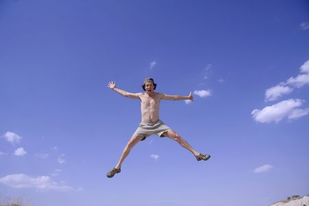 healthy happy man jumping in joy of life Stock Photo - 3927925