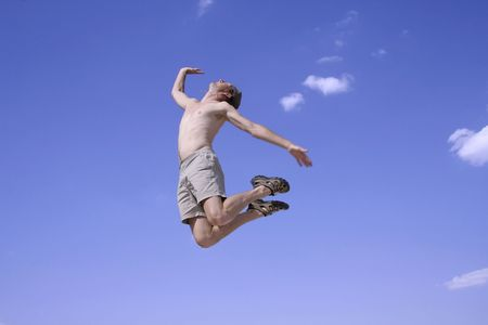 healthy happy man jumping in joy of life Stock Photo - 3927946