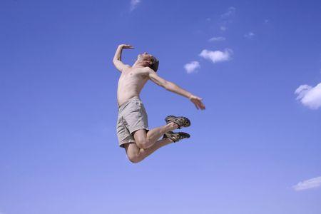 healthy happy man jumping in joy of life Stock Photo - 3927946