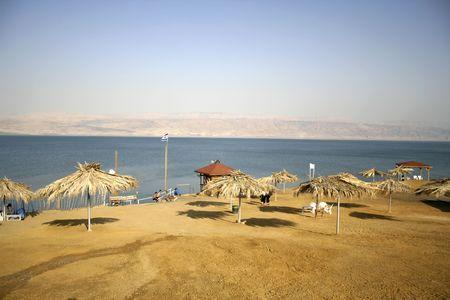 parasol on dead sea beach  resort photo