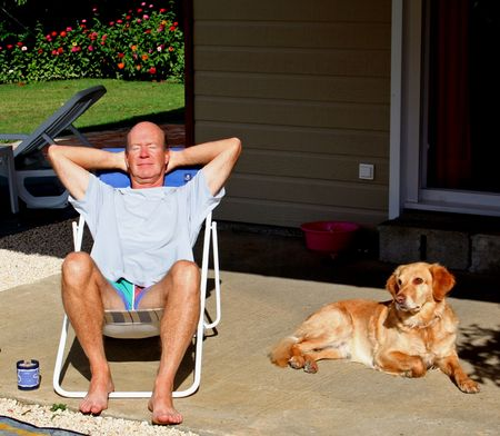 man relaxing with dog Stock Photo - 3928081