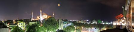 aya sofia basilica panorama at night, sultanhamet, istanbul, turkey photo