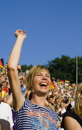 chant: happy lady supporting her team