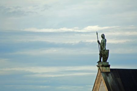 neuschwanstein: the knight of neuschwanstein on the roof protecting the castle
