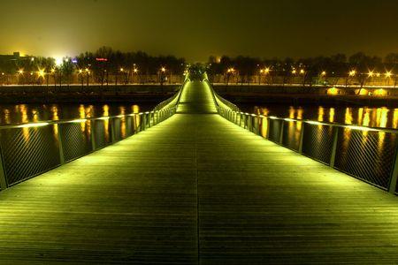 simon de beauvoir footbridge at night (filtered), paris, france photo