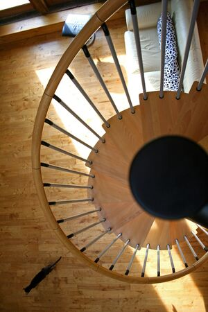 helicoid: spiral staircase with running cat Stock Photo
