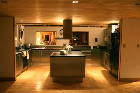 stainless steel kitchen: modern kitchen at night