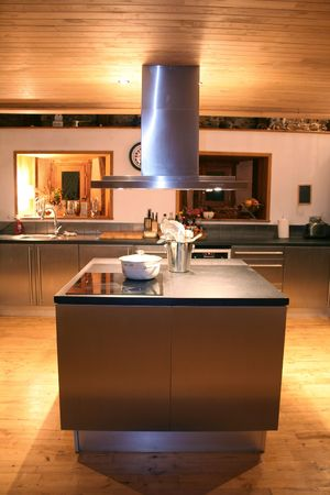 american cuisine: kitchen top at night