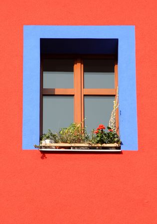 blue window frame photo