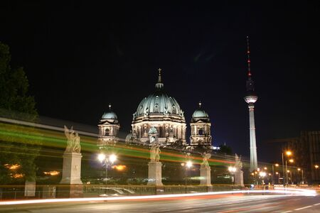 nite: alexander platz tower and berliner dome, germany