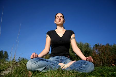 woman meditating photo