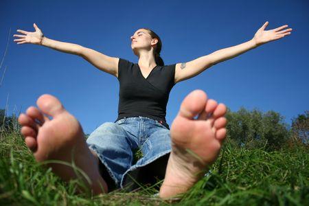 open toe: woman enjoying the sun